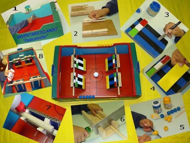 Giochi fai da te per bambini con il riciclo creativo: il calcetto a palette