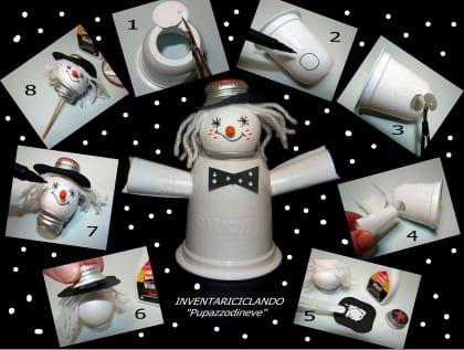 Pupazzo di neve fai da te con il riciclo creativo