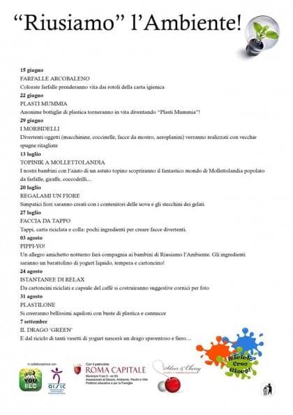 Laboratorio di riciclo creativo per bambini a Roma a Villa Ada