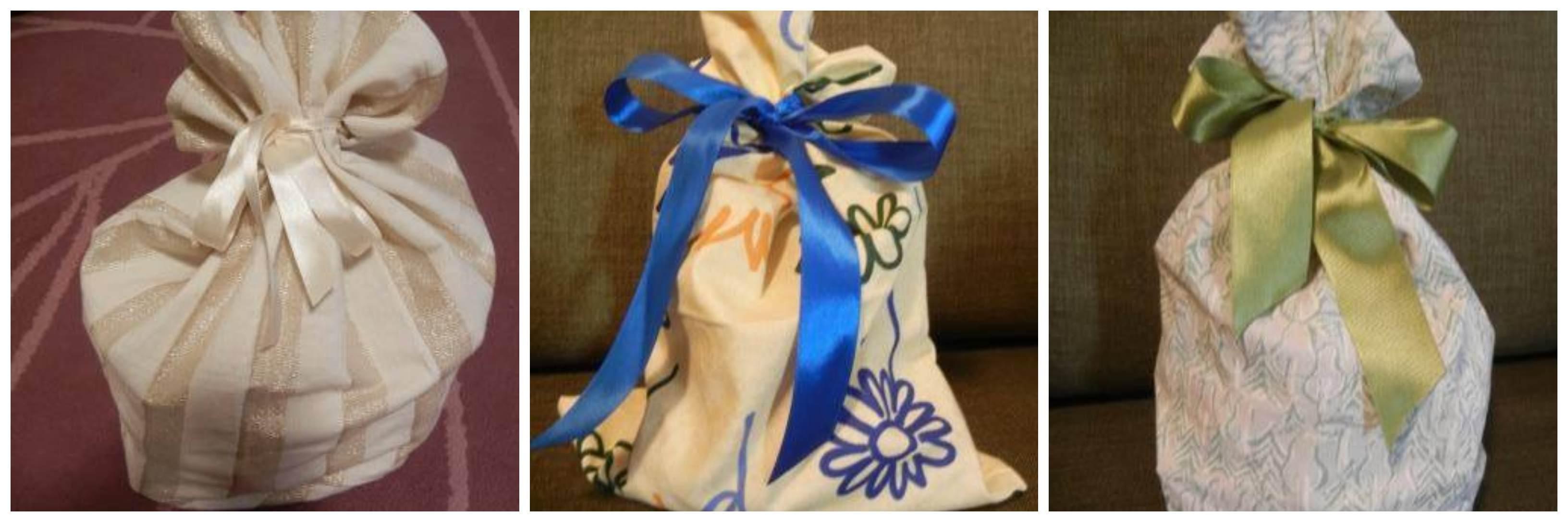 Sacchetti per regali natalizi, si possono preparare con scampoli di stoffa. E anche con vecchie federe, tela di juta e t-shirt che non usate più (foto)