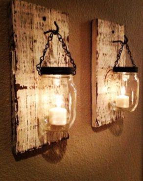 Lanterne con pezzi di legno