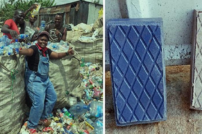 Mattoni con plastica riciclata