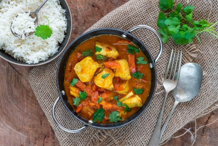 curry di merluzzo e gamberi